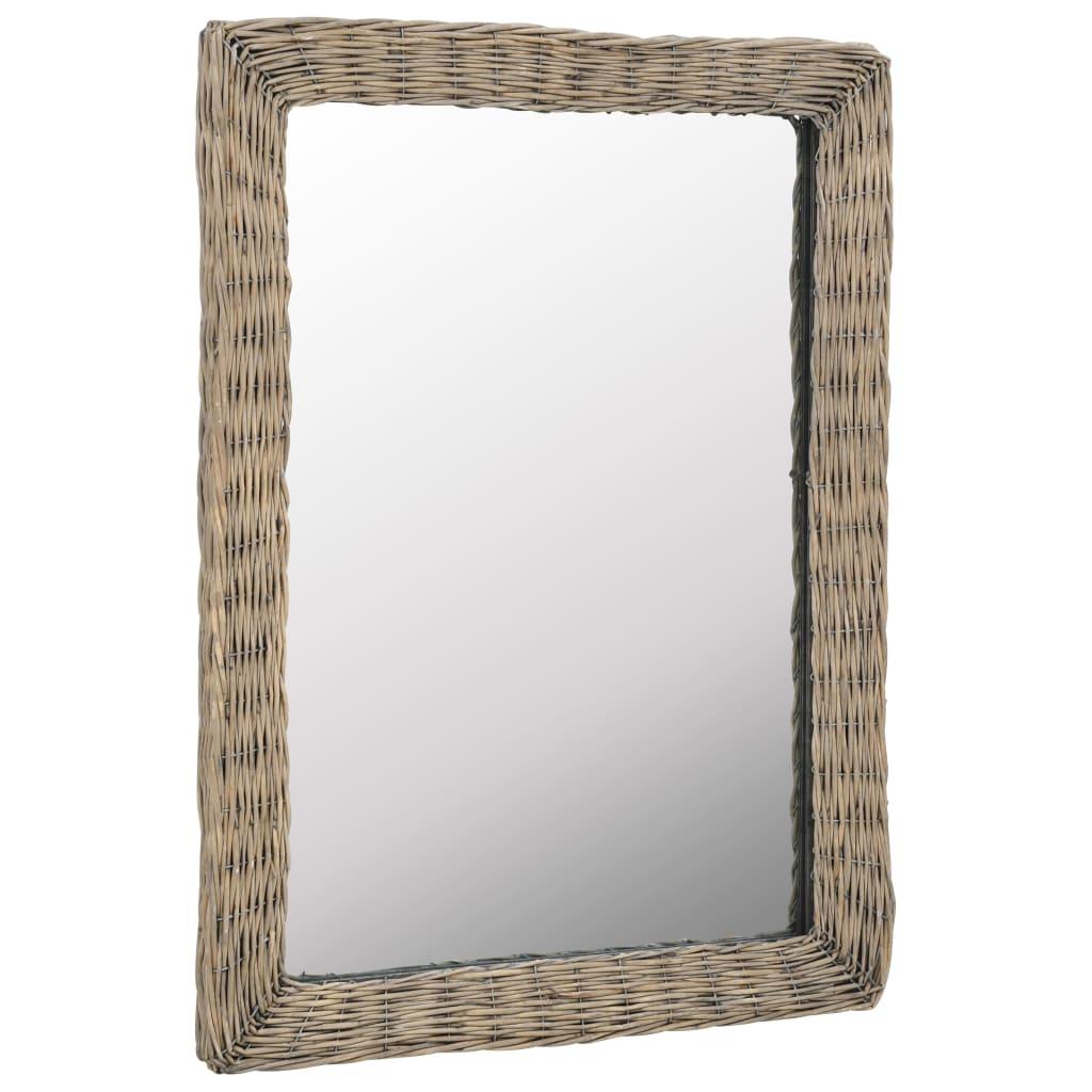 vidaXL Zrkadlo s prúteným rámom hnedé 60x80 cm