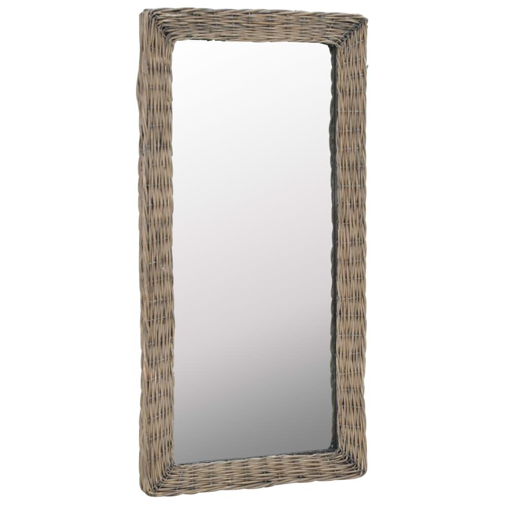 vidaXL Zrkadlo s prúteným rámom hnedé 50x100 cm