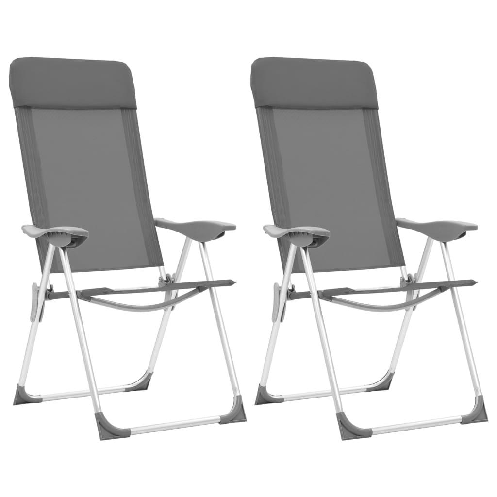 41b832b6aa9cc vidaXL Skladacie kempingové stoličky 2 ks, sivé, hliník