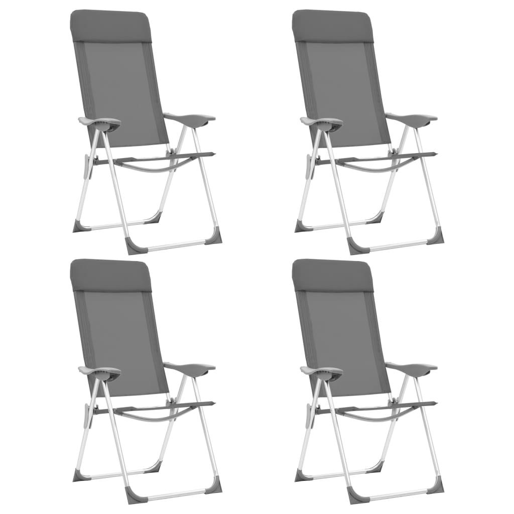 4063caf56208f vidaXL Skladacie kempingové stoličky 4 ks, sivé, hliník