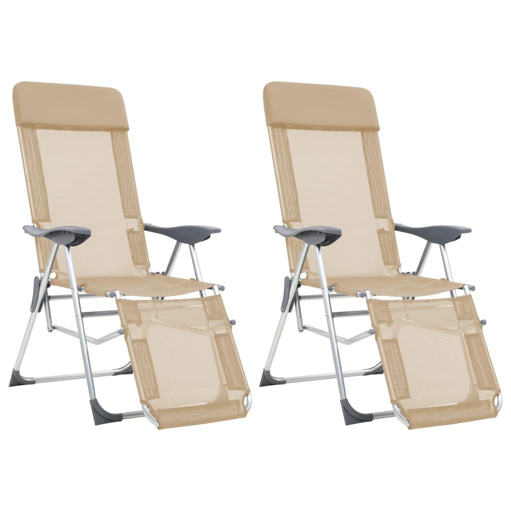 d9da035de6491 vidaXL Skladacie kempingové stoličky s podnožkami 2ks, krémové, hliník