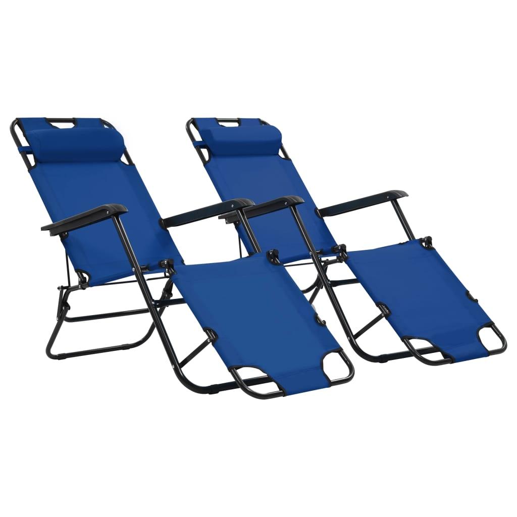 vidaXL Skladacie záhradné ležadlá s opierkou na nohy 2 ks modré