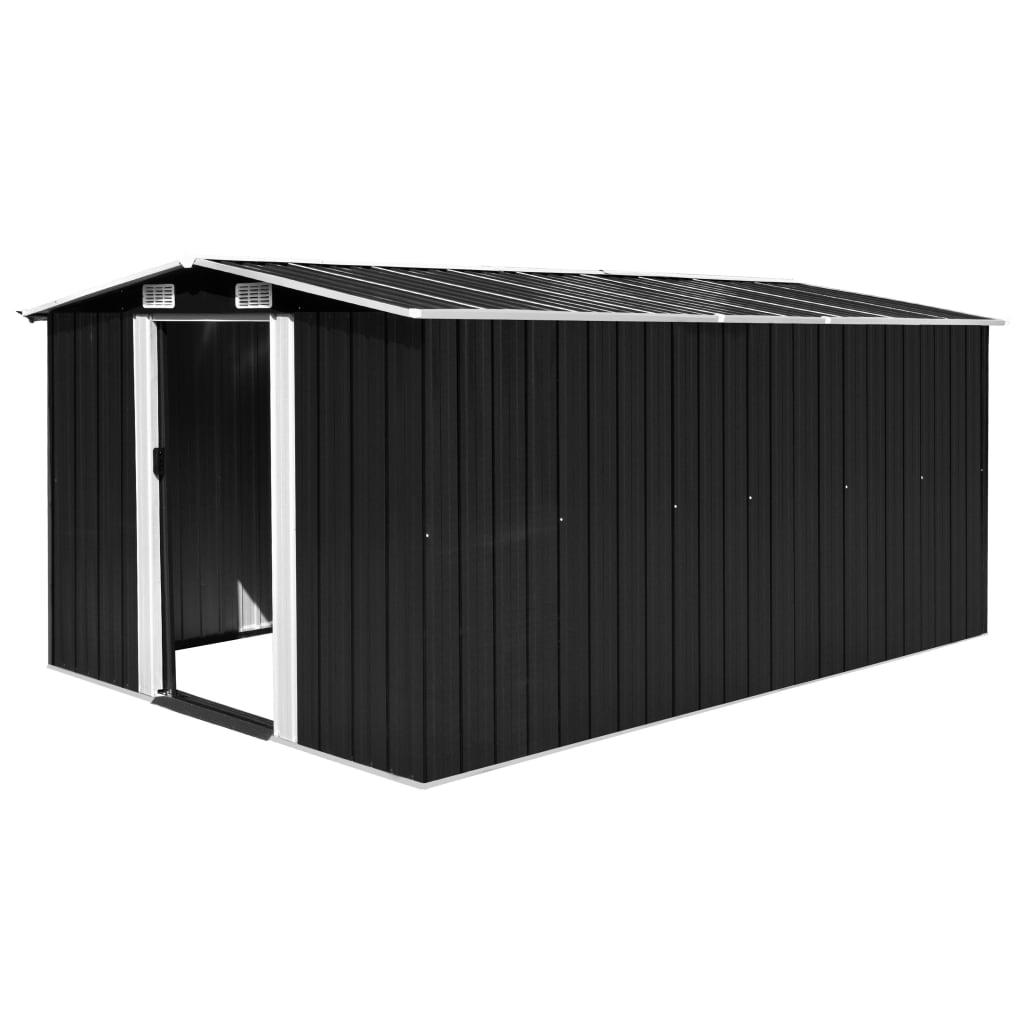 vidaXL Záhradná kôlňa 257x398x178 cm kovová antracitová