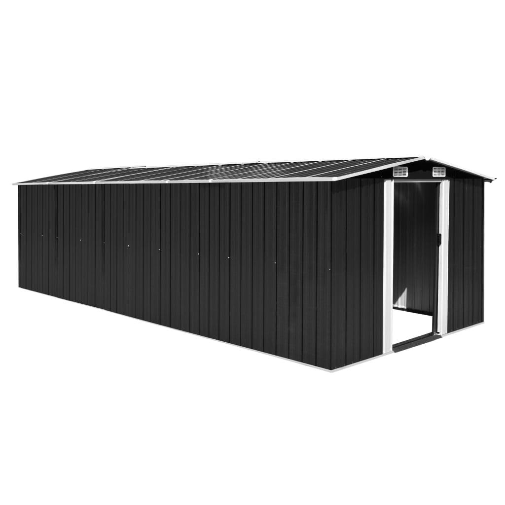 vidaXL Záhradná kôlňa 257x597x178 cm, kovová, antracitová