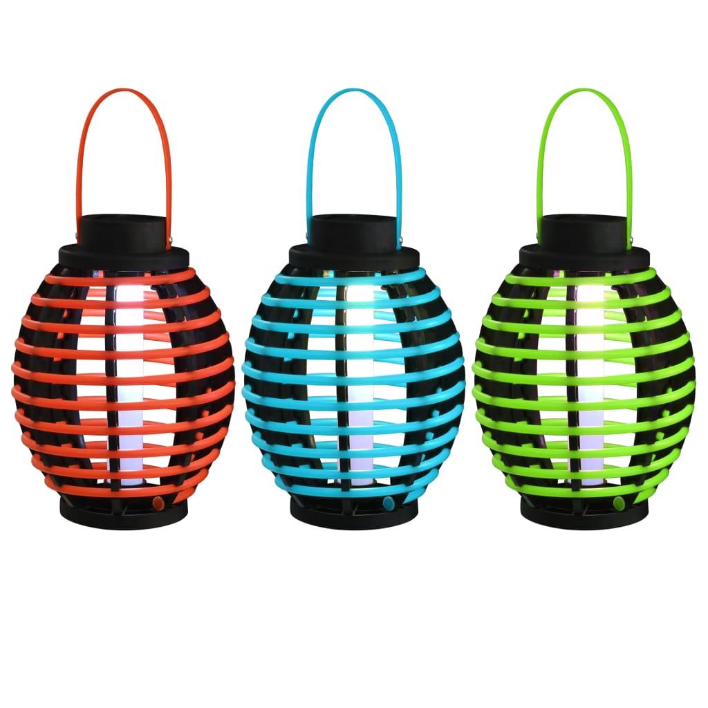 vidaXL Závesné solárne lampy 3 ks, LED svetlá, biele