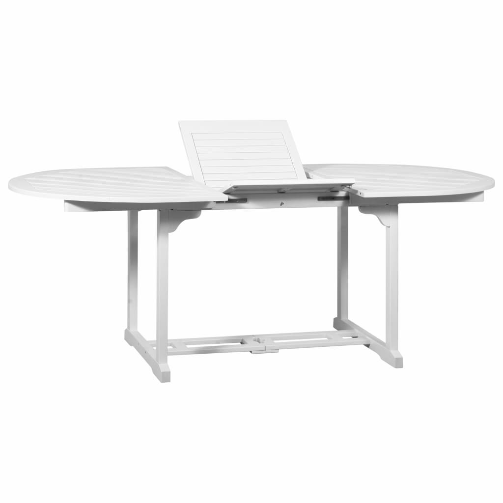 vidaXL Vonkajší rozťahovací jedálenský stôl biely akáciové drevo ovál