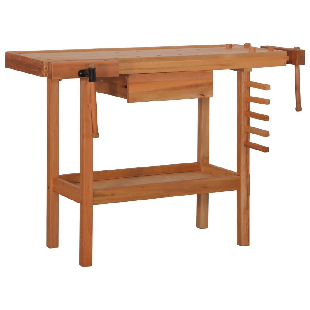 vidaXL Pracovný stôl s 1 zásuvkou a 2 zverákmi 123x52x83 cm