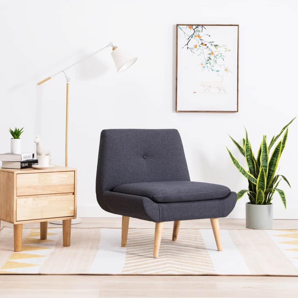 vidaXL Nízka čalúnená stolička, látkový poťah 73x66x77 cm, tmavosivá