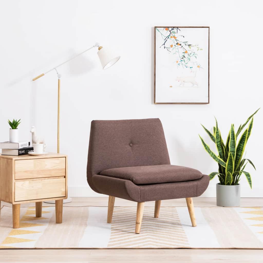 vidaXL Nízka čalúnená stolička, látkový poťah 73x66x77 cm, hnedá