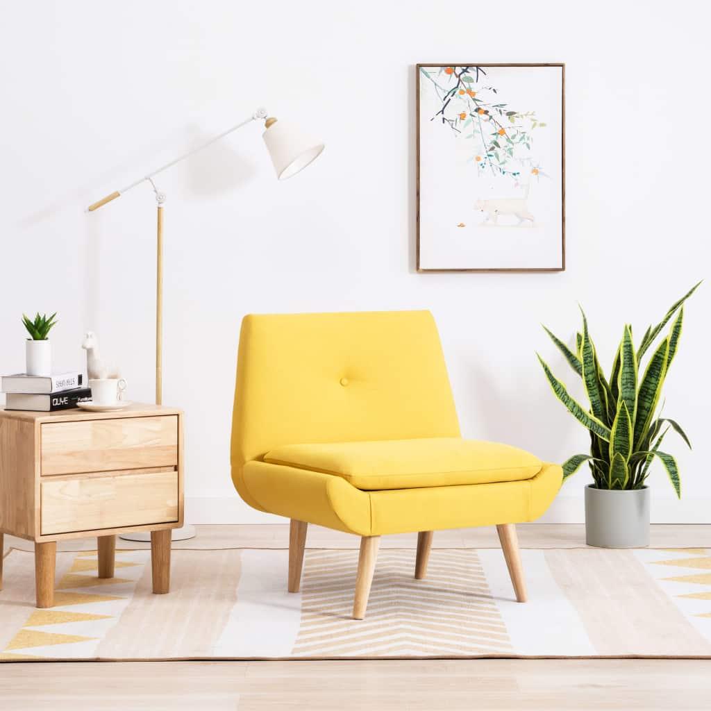 vidaXL Nízka čalúnená stolička, látkový poťah 73x66x77 cm, žltá