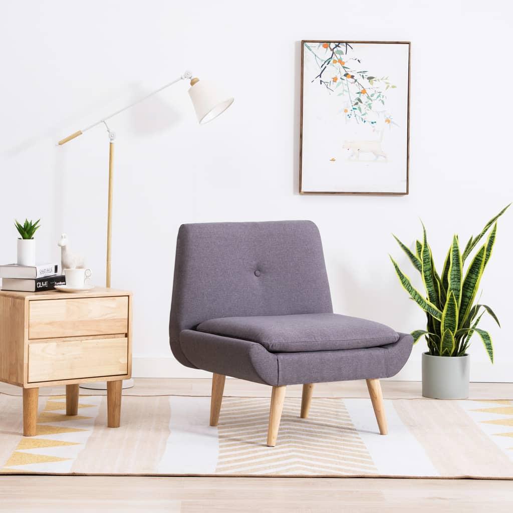vidaXL Nízka čalúnená stolička, látkový poťah 73x66x77 cm, svetlosivá