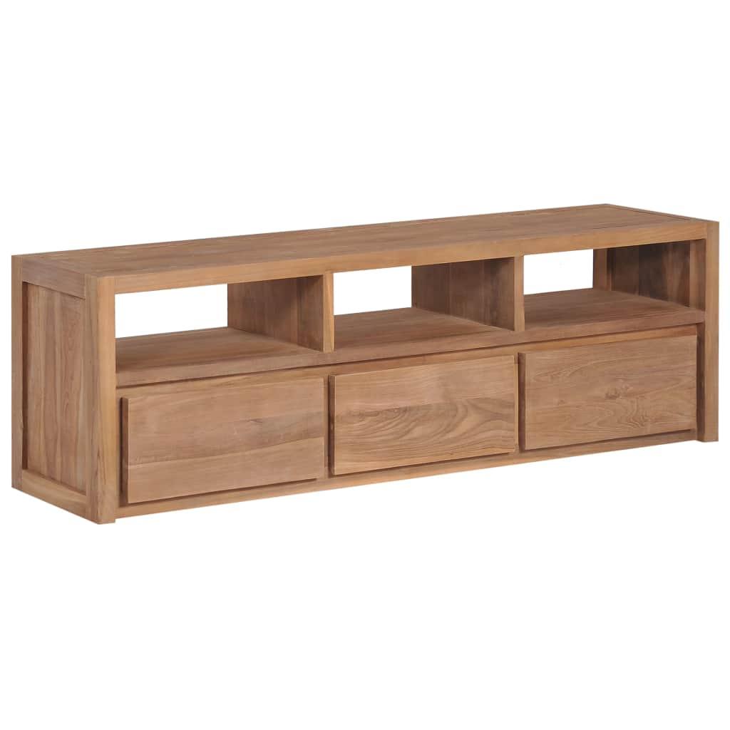 vidaXL TV stolík z teakového dreva s prírodným zakončením 120x30x40 cm