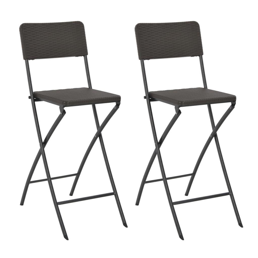 vidaXL Skladacie barové stoličky 2 ks hnedé HDPE a oceľ s ratanovým vzhľadom