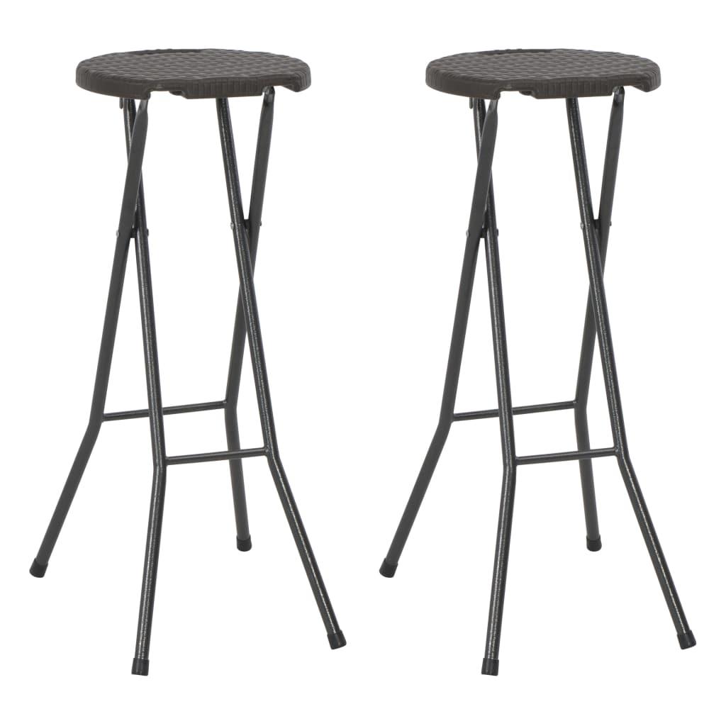 vidaXL Skladacie barové stoličky 2 ks HDPE oceľ hnedé ratanový vzhľad