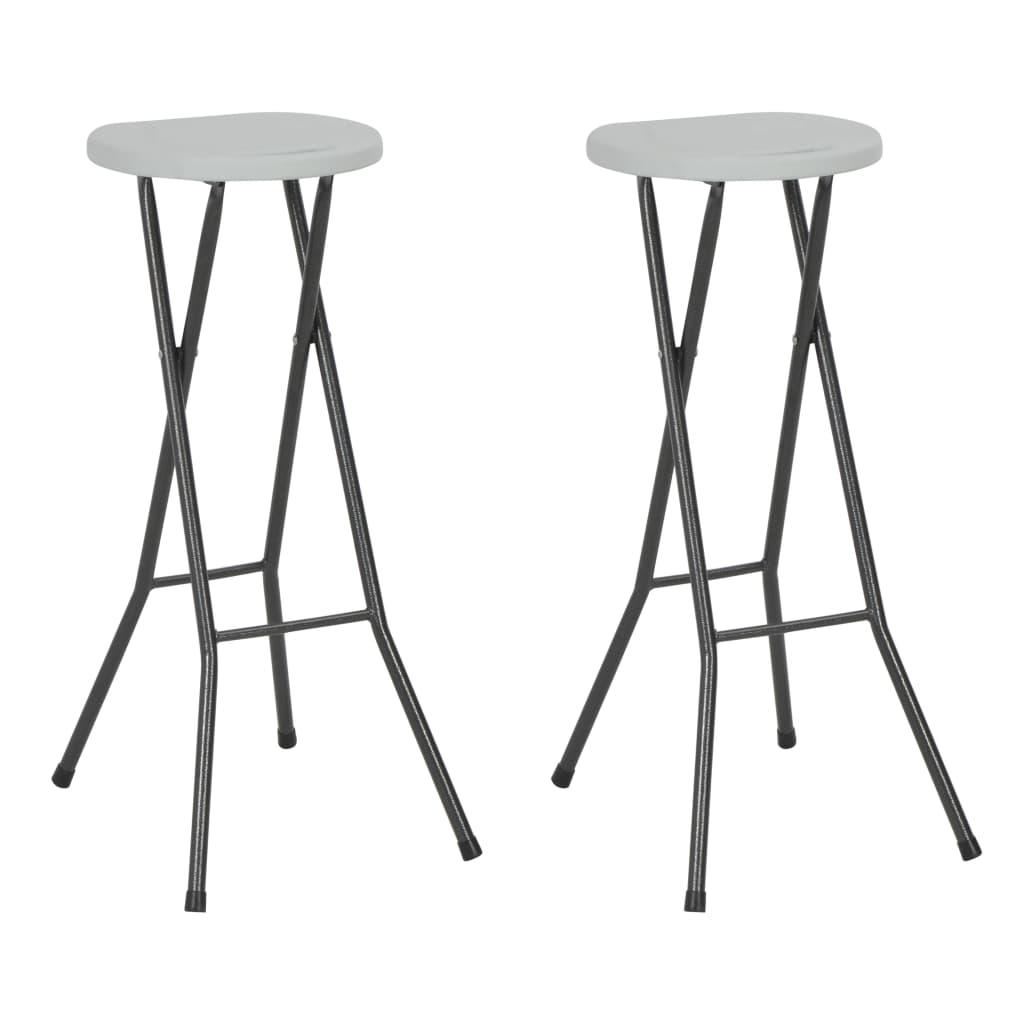 vidaXL Skladacie barové stoličky 2 ks HDPE 35x44x80 cm biele