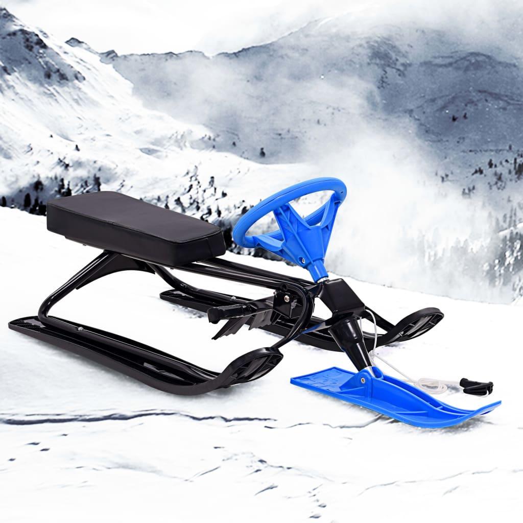 vidaXL Snehové pretekárske sane čierno-modré