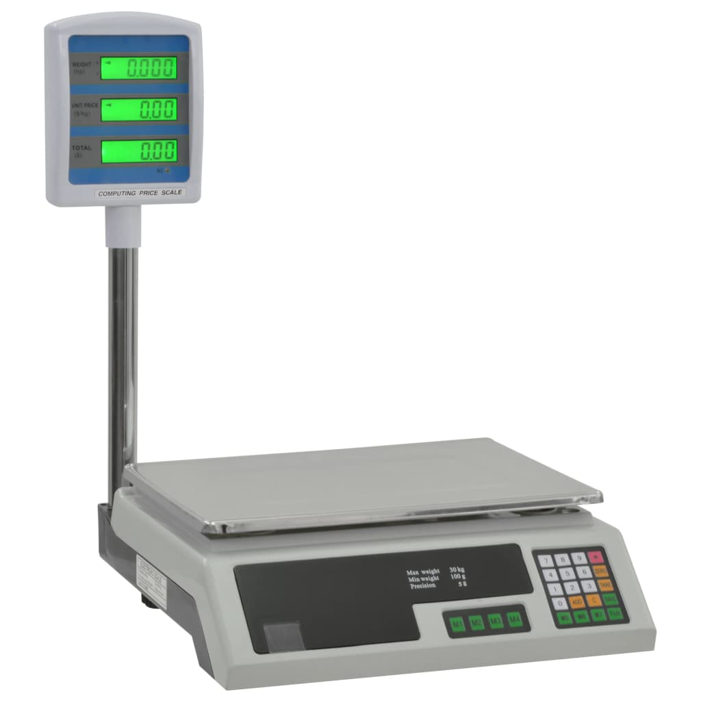 vidaXL Elektronická váha na balíky s LCD 30 kg