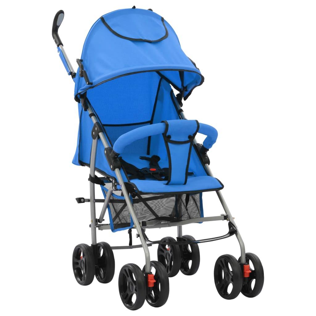 vidaXL Skladací detský kočík/bugina 2 v 1 modrý oceľový
