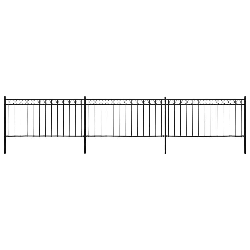 vidaXL Plotové panely so stĺpikmi čierne 6x1,3 m oceľové
