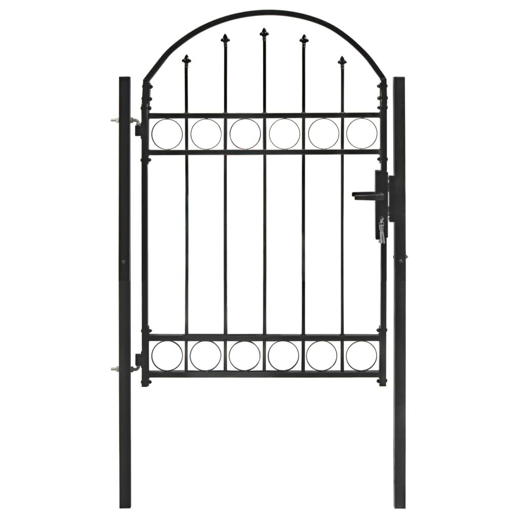 vidaXL Plotová brána s oblúkovitým vrchom oceľová 100x125 cm čierna
