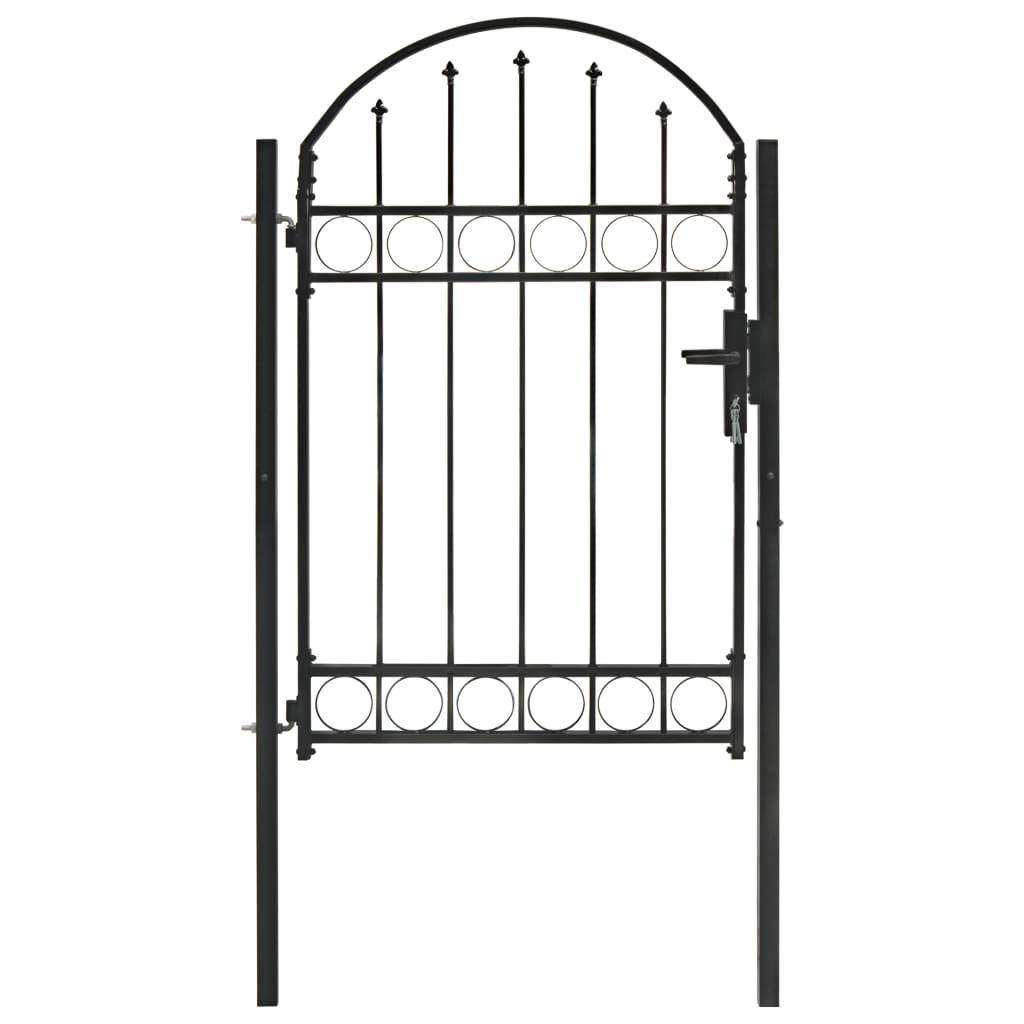 vidaXL Plotová brána s oblúkovitým vrchom čierna 100x150 cm oceľová