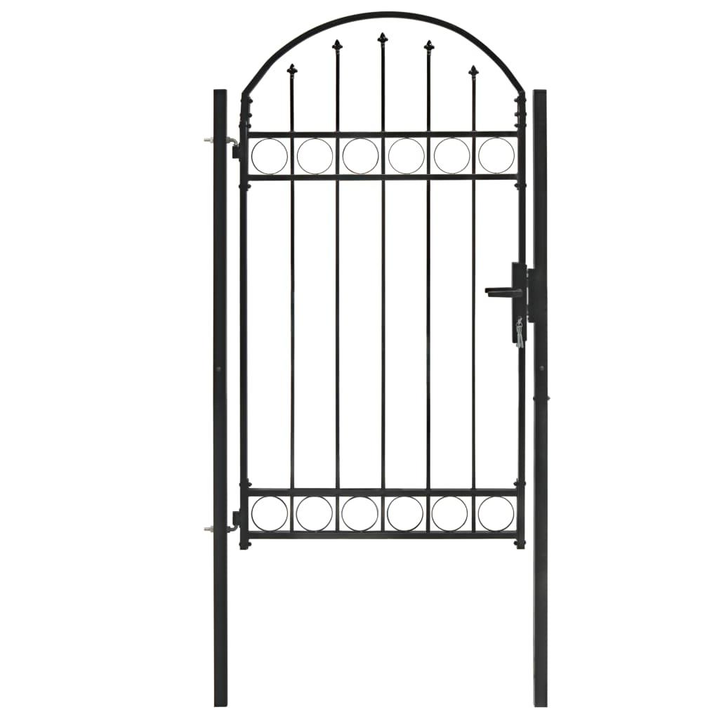 vidaXL Plotová brána s oblúkovitým vrchom oceľová 100x175 cm čierna