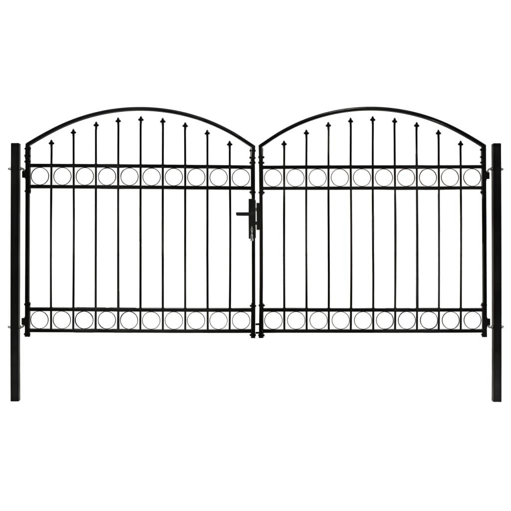 vidaXL Plotová dvojkrídlová brána s vrchným oblúkom čierna 300x125 cm oceľová