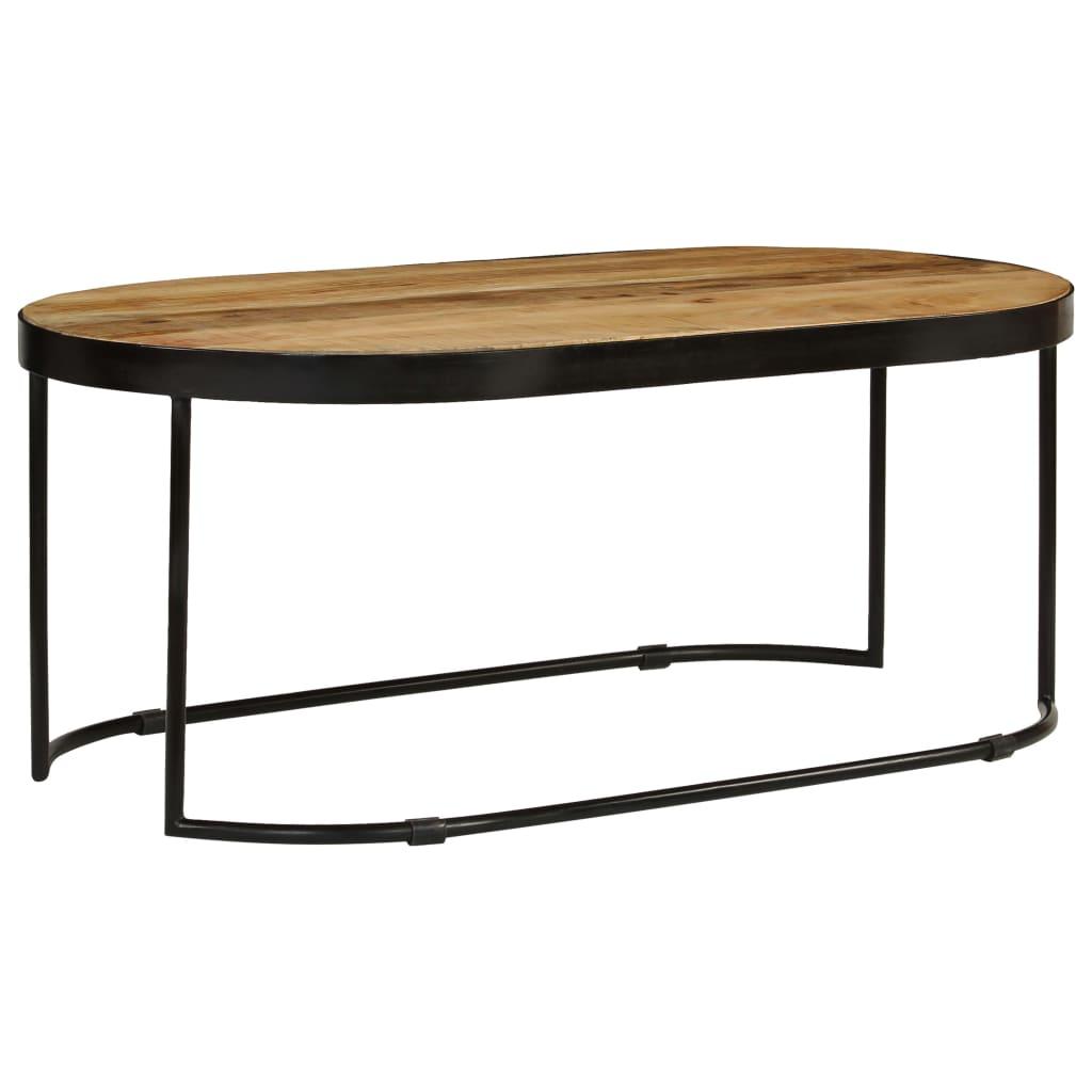vidaXL Konferenčný stolík 100 cm surové masívne mangovníkové drevo a oceľ oválny