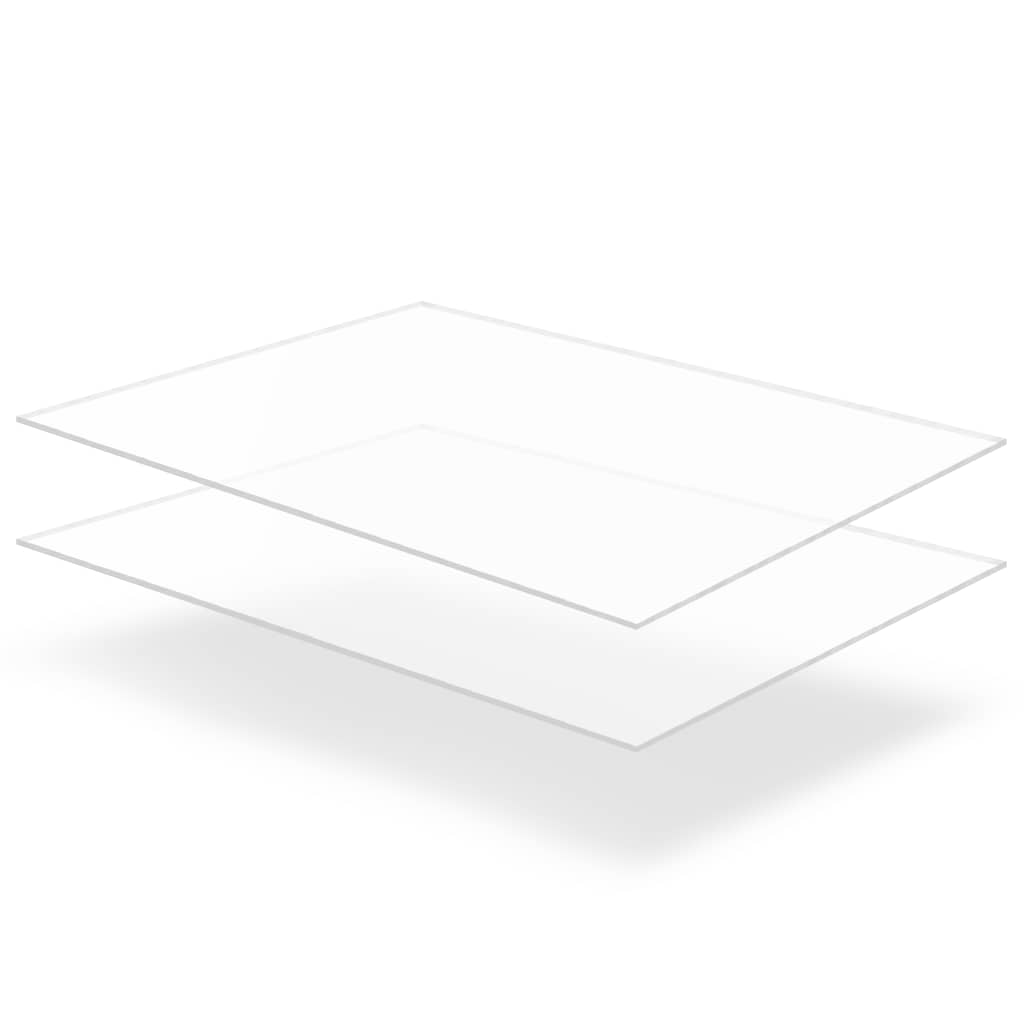 vidaXL Priehľadné dosky z akrylového skla 2 ks 60x80 cm 5 mm