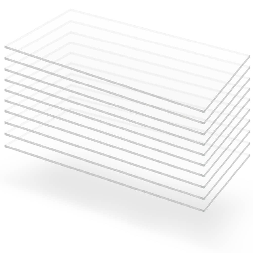 vidaXL Priehľadné dosky z akrylového skla 10 ks 60x120 cm 3 mm