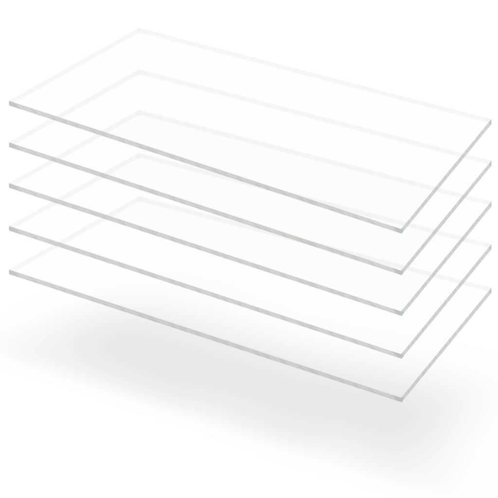 vidaXL Priehľadné dosky z akrylového skla 5 ks 60x120 cm 5 mm