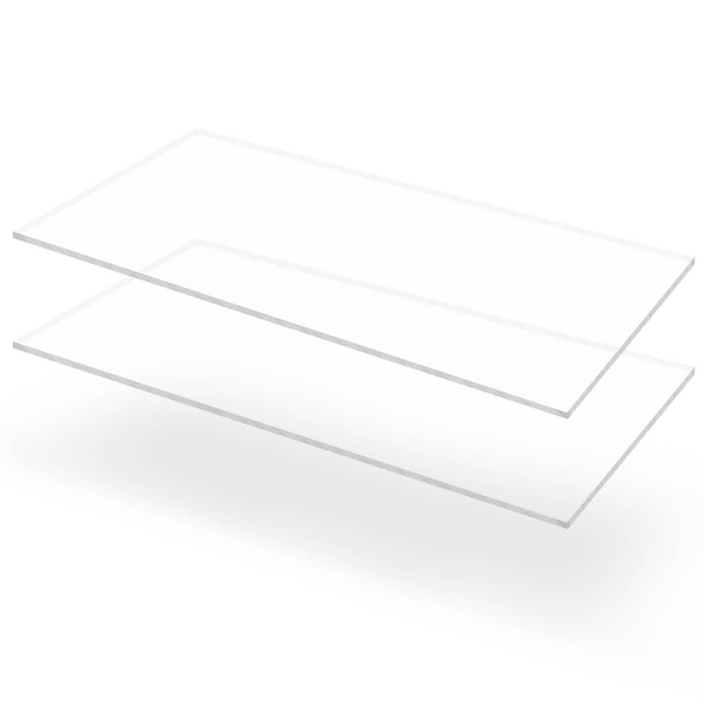 vidaXL Priehľadné dosky z akrylového skla 2 ks 60x120 cm 6 mm