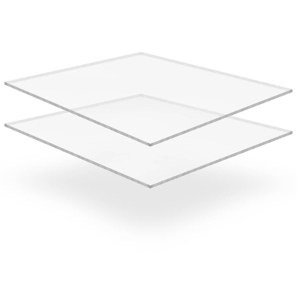 vidaXL Priehľadné dosky z akrylového skla 2 ks 40x60 cm 6 mm