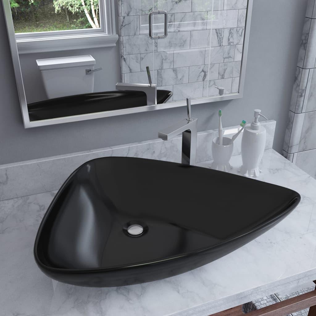 vidaXL Keramické umývadlo čierne 645x455x115 mm trojuholníkové