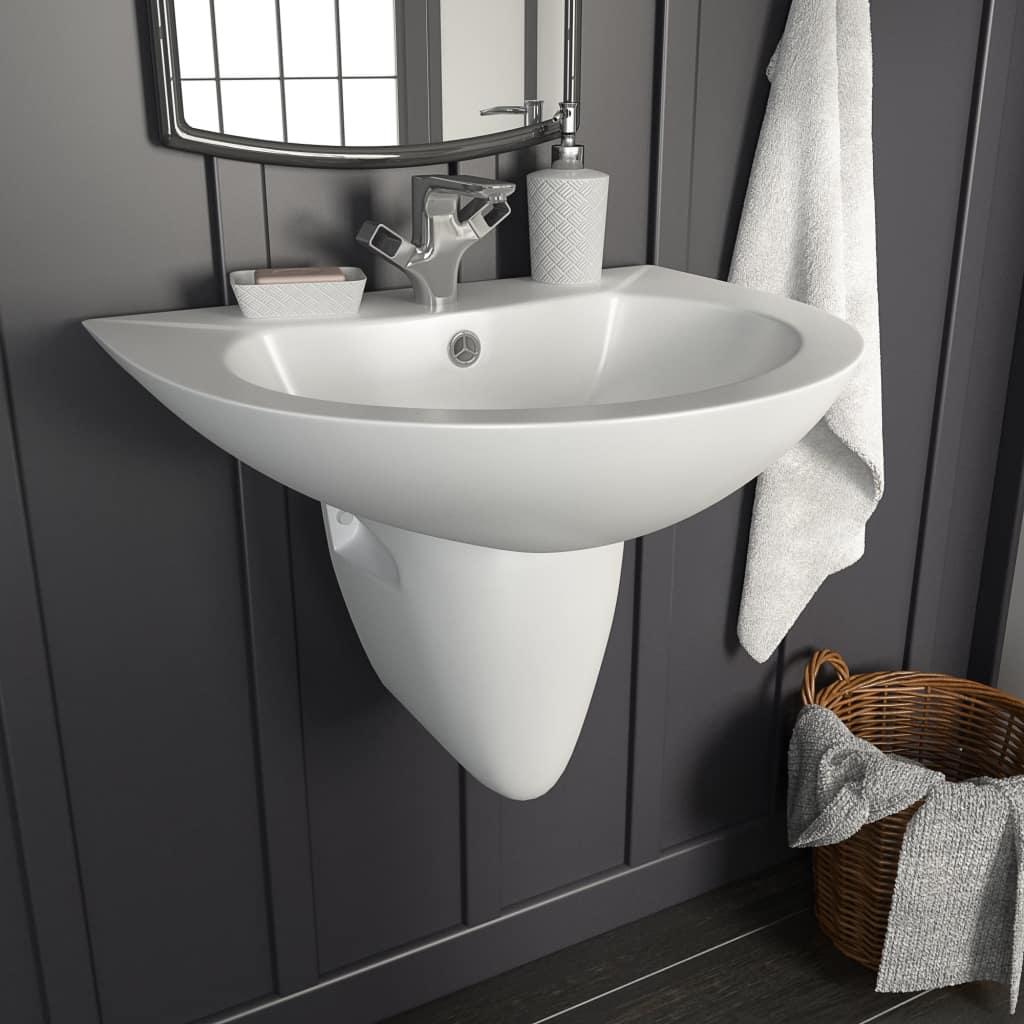 vidaXL Nástenné umývadlo biele 520x450x190 cm keramické