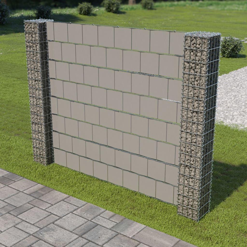 vidaXL Gabiónový plot 2 stĺpikmi 180x180 cm pozinkovaná oceľ a PVC