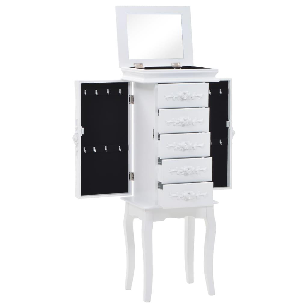 vidaXL Voľne stojaca skrinka na šperky biela