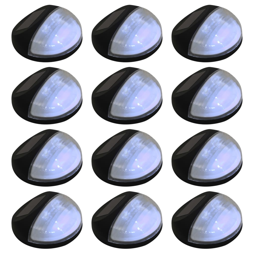 vidaXL Vonkajšie solárne nástenné LED svietidlá 12 ks okrúhle čierne