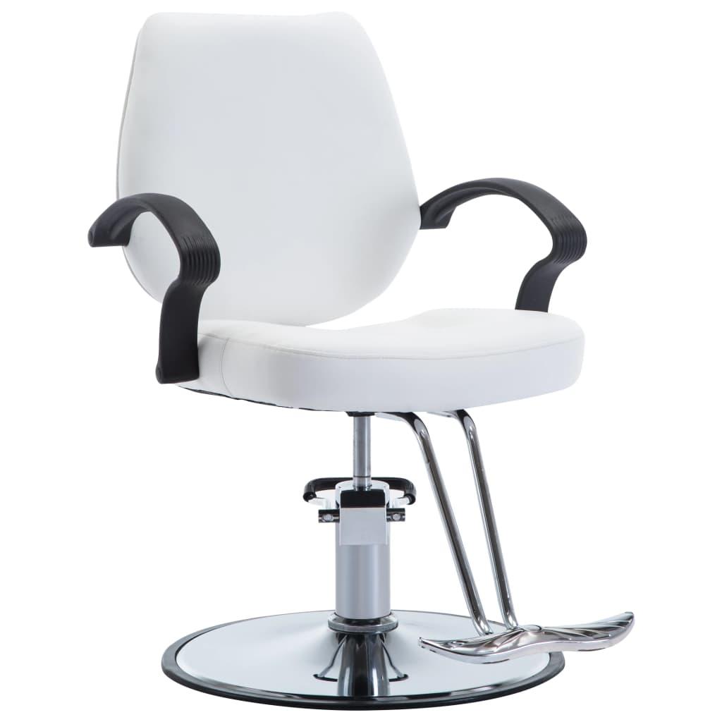 vidaXL Holičská stolička z umelej kože biela