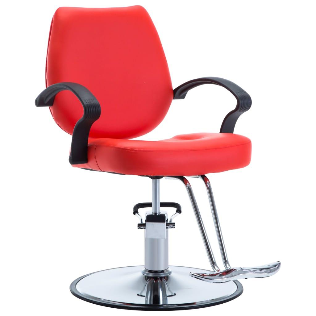 vidaXL Holičská stolička z umelej kože červená