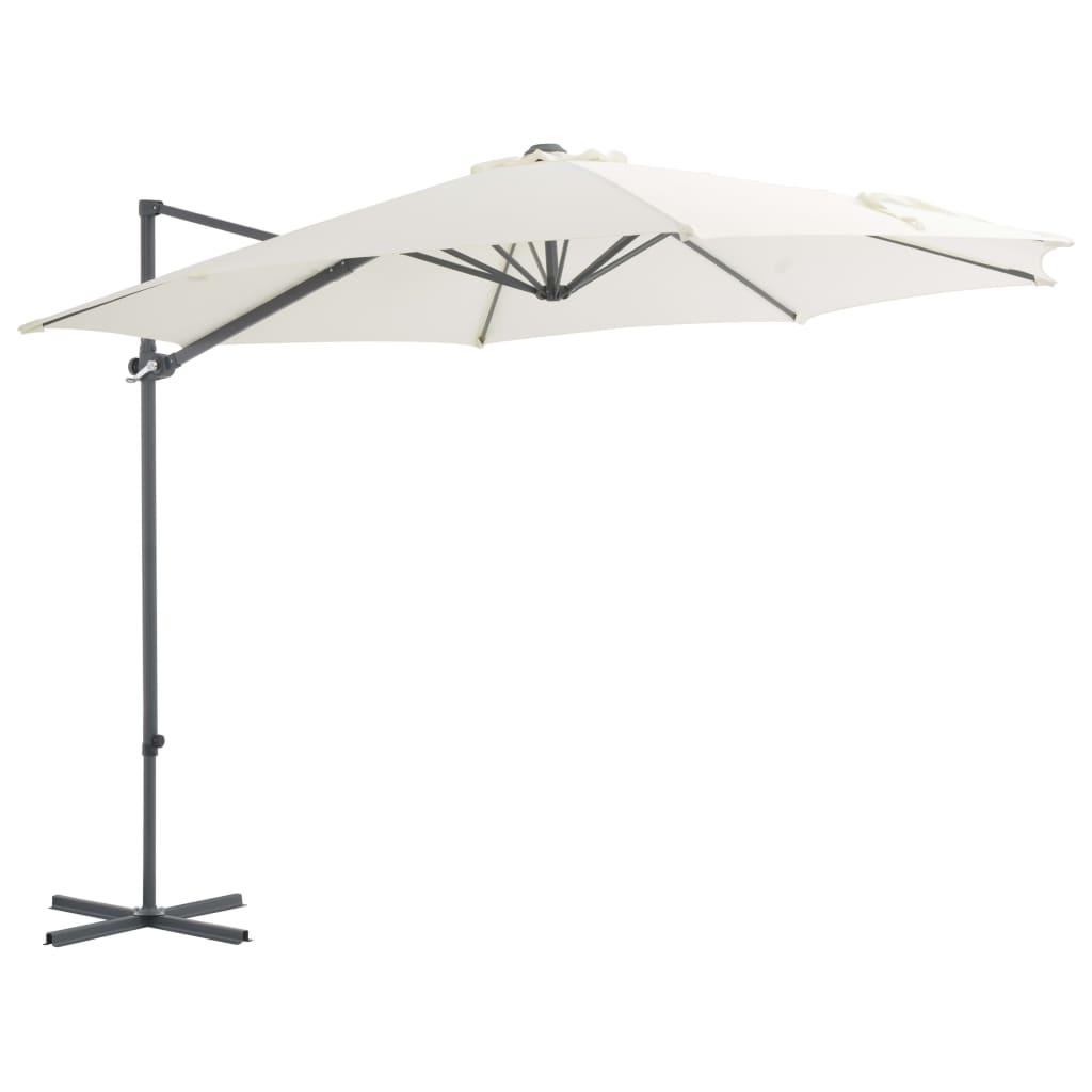 vidaXL Závesný slnečník s oceľovou tyčou pieskový 300 cm