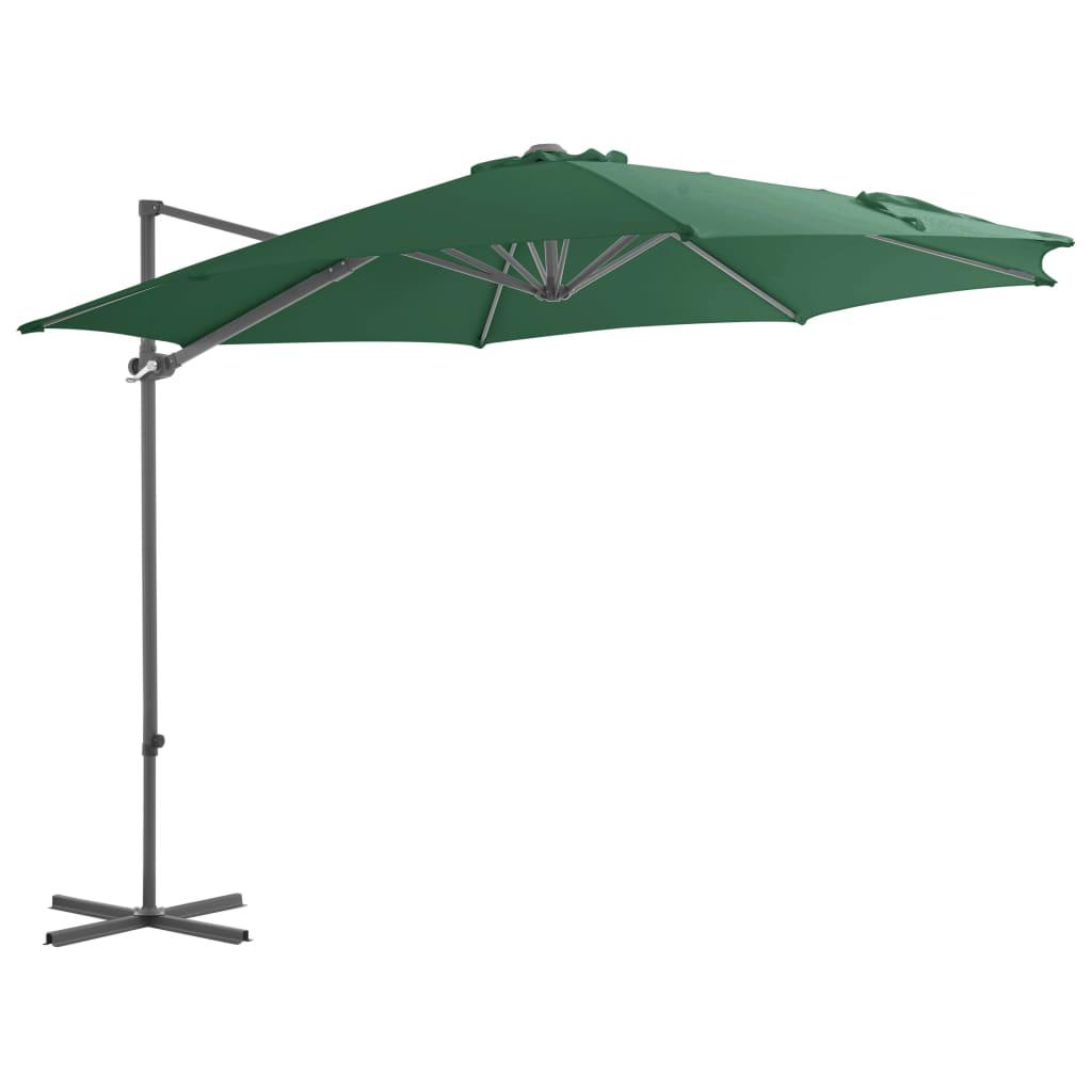 vidaXL Závesný slnečník s oceľovou tyčou zelený 300 cm