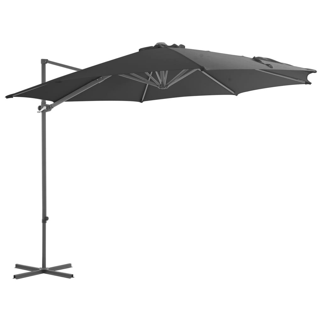 vidaXL Závesný slnečník s oceľovou tyčou antracitový 300 cm