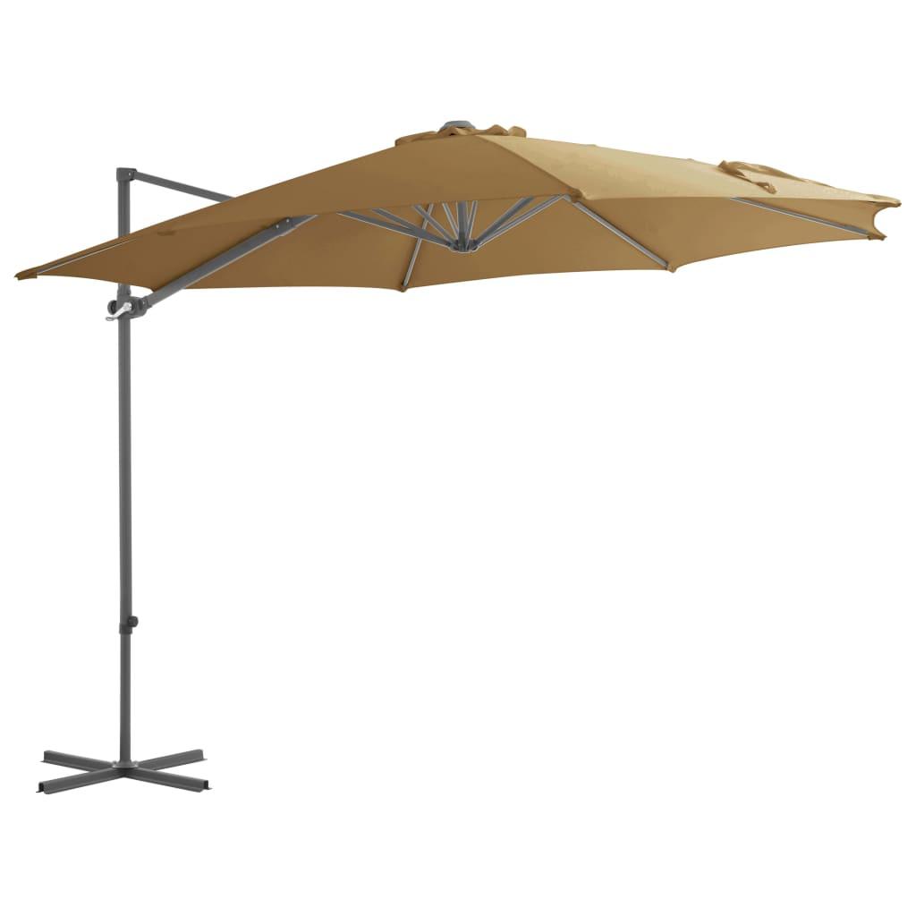 vidaXL Závesný slnečník s oceľovou tyčou hnedosivý 300 cm