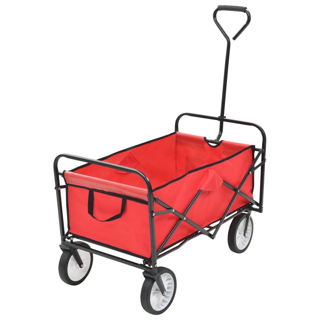 vidaXL Skladací ručný vozík, oceľ, červený