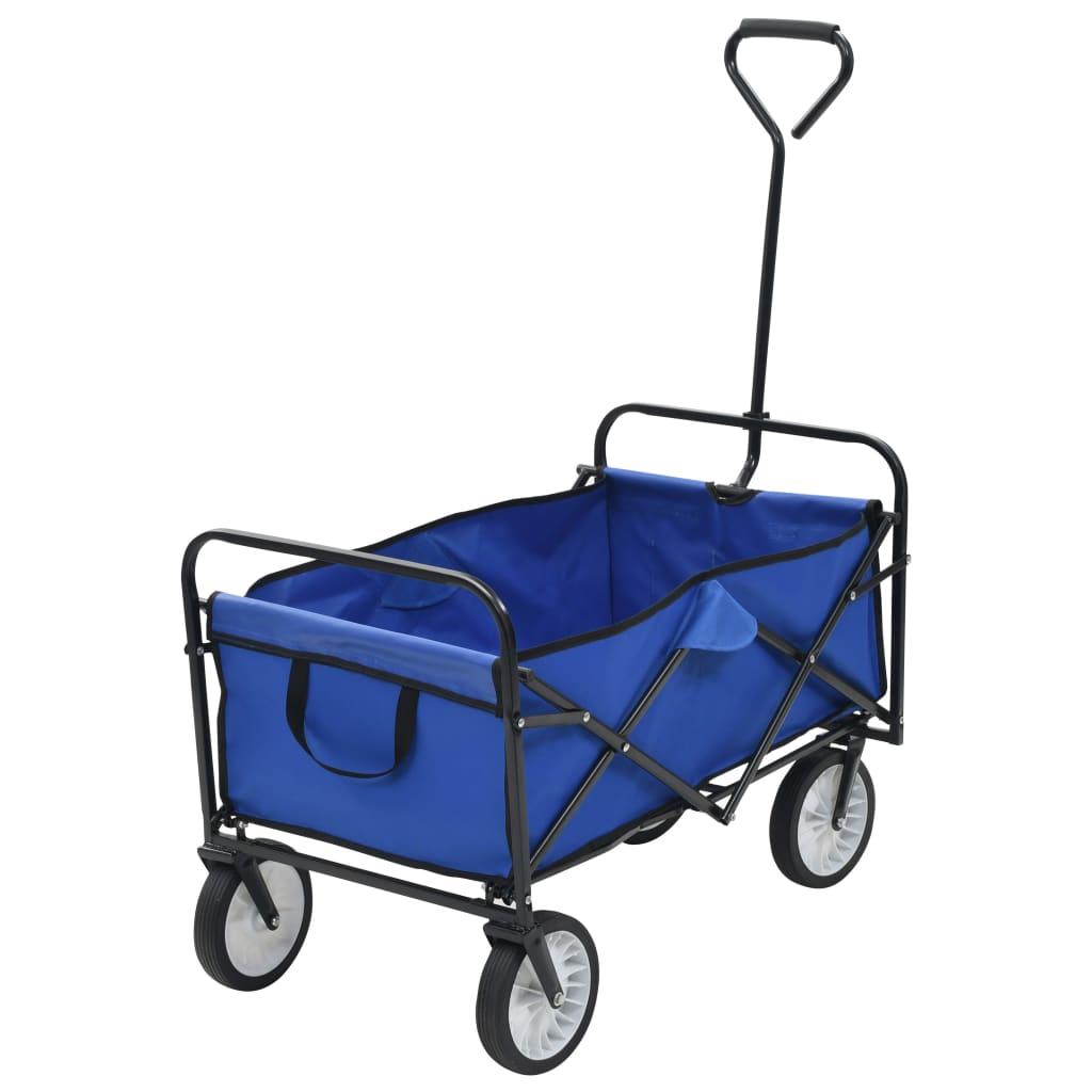 vidaXL Skladací ručný vozík, oceľ, modrý