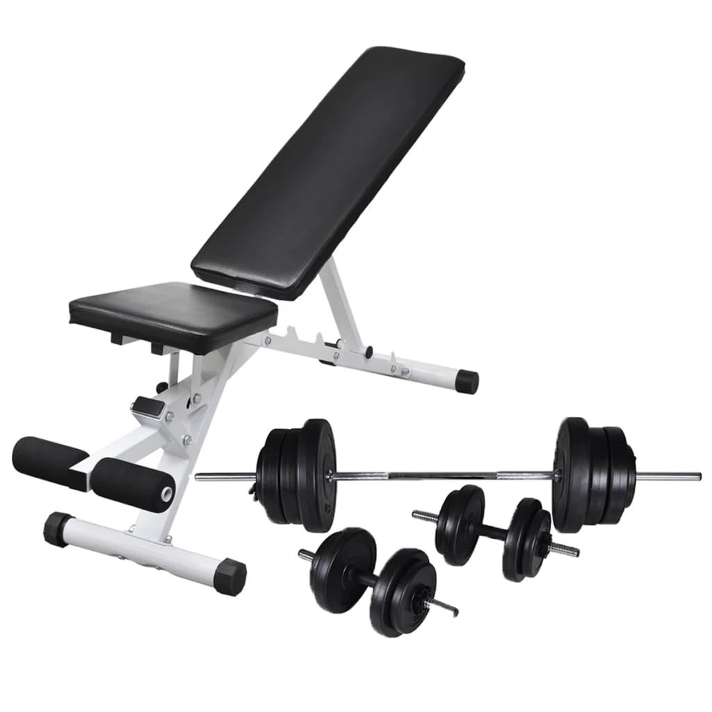 vidaXL Posilňovacia lavica, jednoručné a obojručné činky 60,5 kg
