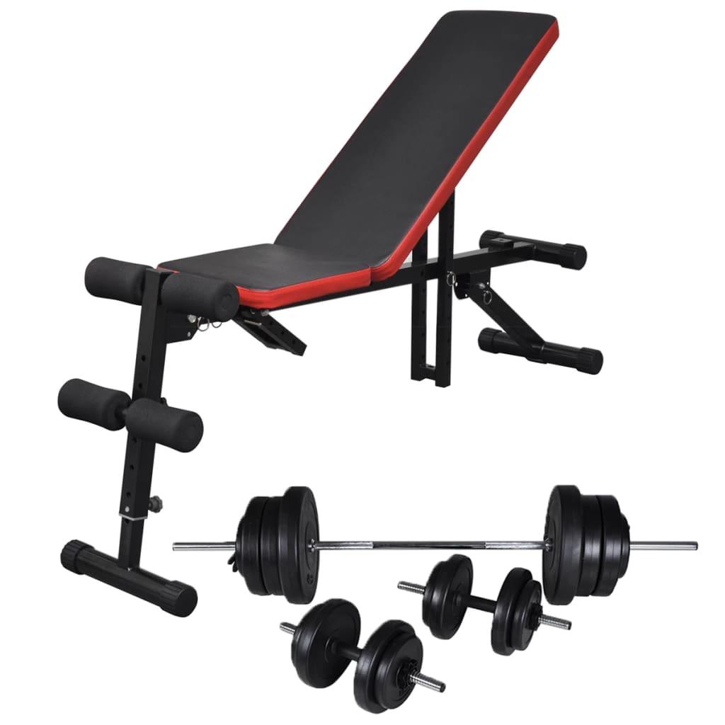 vidaXL Nastaviteľná lavička na ľah-sed so 60,5 kg sadou jednoručných a obojručných činiek