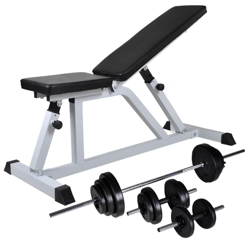 vidaXL Tréningová lavica so sadou jednoručných a obojručných činiek 30,5 kg