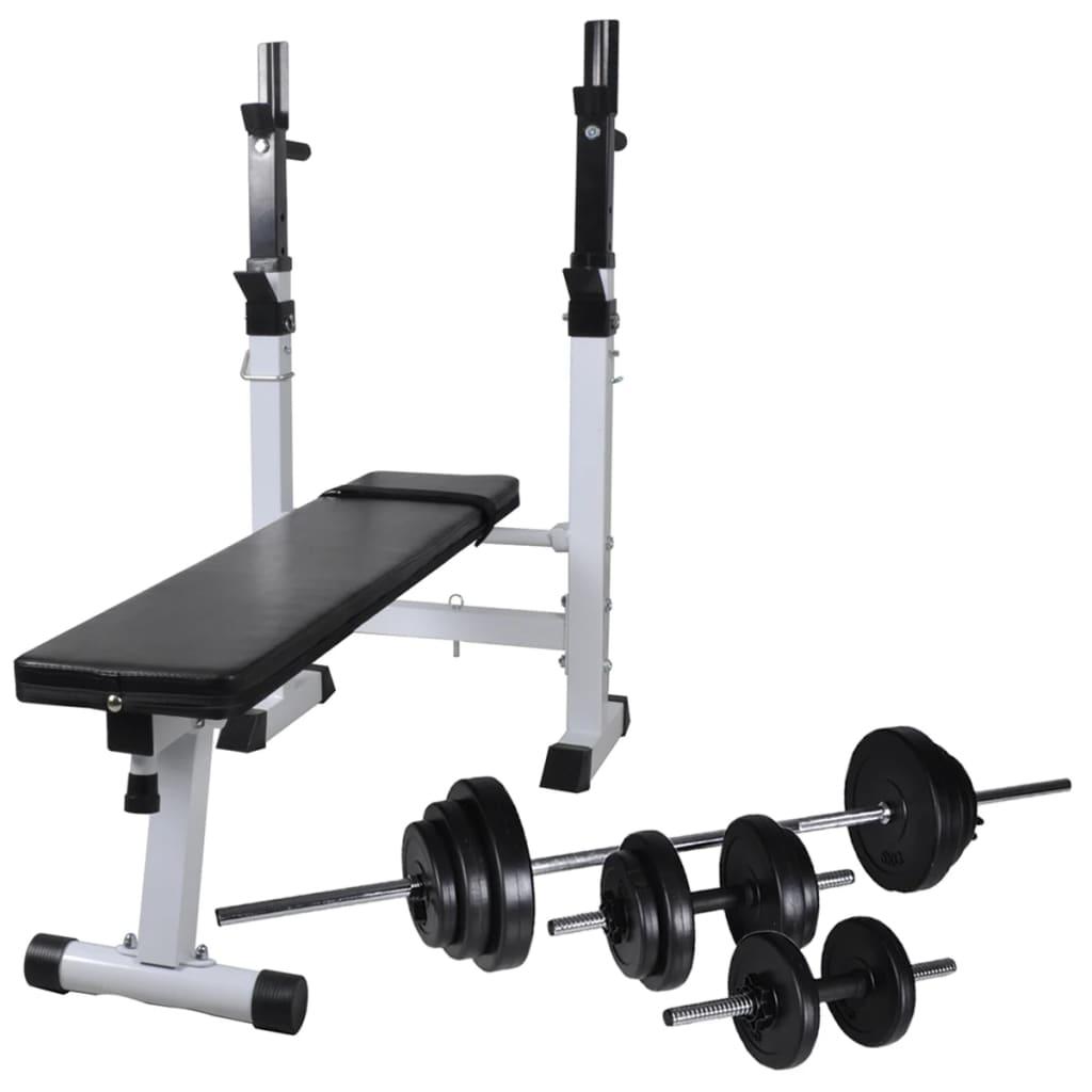 vidaXL Posilňovacia lavica so stojanom na závažia a sadou jednoručných a obojručných činiek 30,5 kg